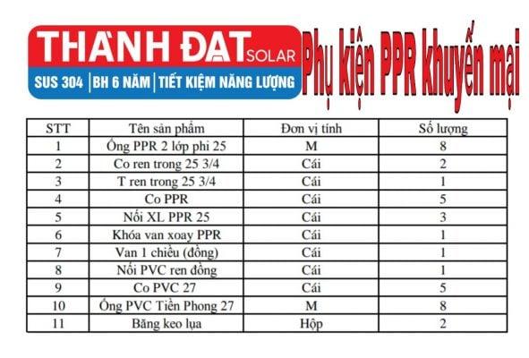 Vật tư khuyến mãi máy nước nóng NLMT Đạt Thành Solar 170 lít